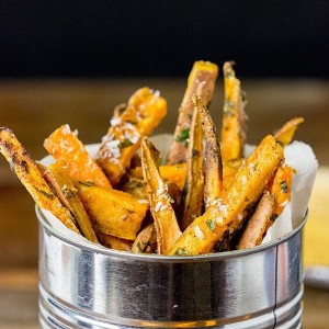 Chipotle Parmesan Baked Sweet Potato Fries